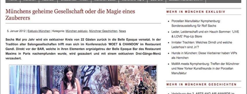 Presseartikel über Zauberer TOMBECK in exklusiv München